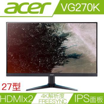 ACER宏碁 VG270K 27型IPS面板4K解析度FreeSync電競液晶螢幕