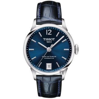 TISSOT天梭 杜魯爾系列動力80小時機械女錶-藍/32mm T0992071604700
