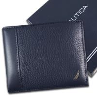 【Nautica】荔紋牛皮夾 多卡夾 獨立卡夾 品牌盒裝/藍色