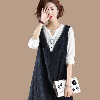 Amore 韓版氣質大碼女裝撞色假兩件蕾絲連衣裙