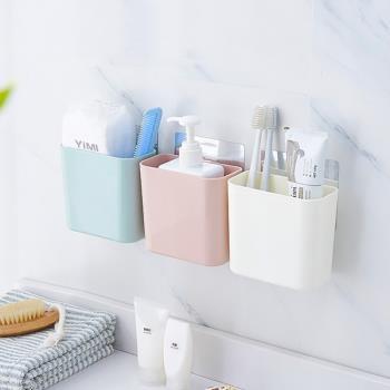 [ 居家樂 ] 無痕浴室牙膏牙刷收納盒 置物盒 瀝水盒 整理盒 吸壁式 免打孔