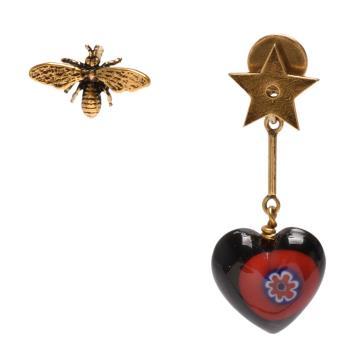DIOR 經典D-Murrine系列不對襯蜜蜂愛心造型穿式耳環