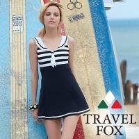 旅狐TRAVEL FOX  海軍領大女連身帶裙泳衣c18710