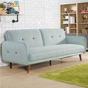 文創集-波麗 時尚灰亞麻布沙發/沙發床-展開式機能設計