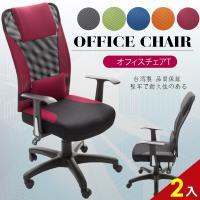A1 艾維斯高背護腰透氣網布T扶手電腦椅 辦公椅 5色可選 2入