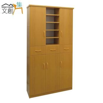 文創集-多亞 環保3.2尺塑鋼五門三抽鞋櫃/玄關櫃-5色可選