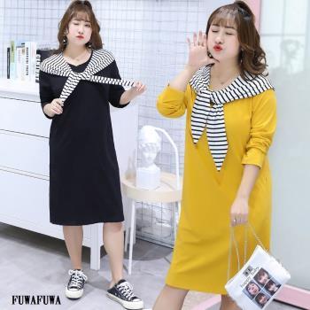 FUWAFUWA- 加大尺碼兩件式條紋長版T恤長袖洋裝