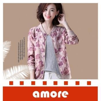 Amore 秋季外套大碼韓版休閒印花棒球服寬鬆立領短外套