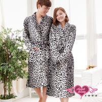 【天使霓裳】保暖睡袍 浪漫時光 豹紋珊瑚絨一件式綁帶連身睡衣(男F) ZB14812