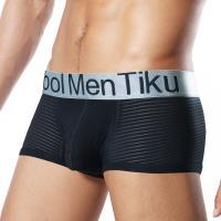 TIKU 梯酷 ~ 金屬系神秘馬賽克 平口男內褲 -黑 (BL1866) ~超呼吸半透視織法