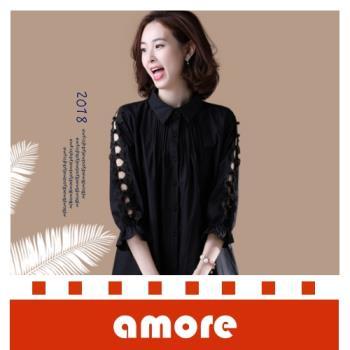 Amore 大碼中長款九分袖鏤空襯衫寬鬆襯衫