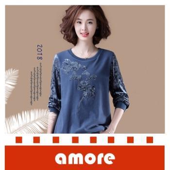 Amore 大碼女裝2018秋裝新款韓版休閒拼接刺繡上衣