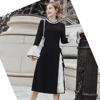 Jisen-美出新境界拼接網紗洋裝