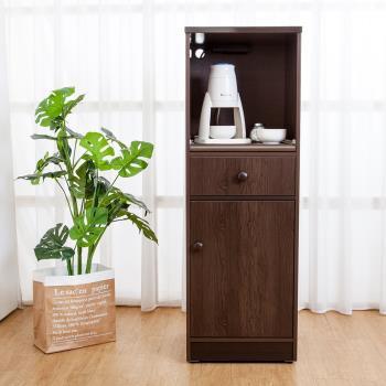 Birdie南亞塑鋼 1.4尺單門單抽塑鋼電器櫃 收納餐櫃 胡桃色