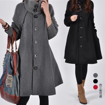 KW韓國. M~L 秋冬優雅高領洋裝式高領毛呢外套