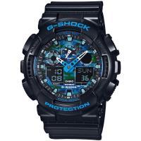 CASIO G-SHOCK 街頭時尚金屬風格腕錶-黑X藍(GA-100CB-1A)
