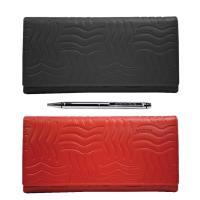 [美國百年精品 CROSS] 經典小牛皮20卡女用長夾皮夾(紅/黑) + CROSS 鋼珠筆組