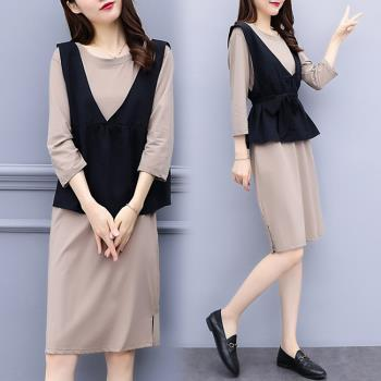 KVOLL-素色洋裝搭黑色收腰背心裙套裝XL~5XL