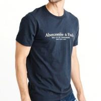 A&F 2018男時尚字母標誌款深藍短袖圓領T恤