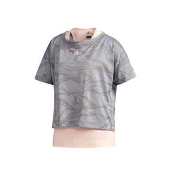 ADIDAS 女運動訓練兩件式T恤-無袖上衣 背心 短袖上衣 短T 愛迪達