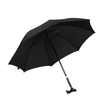 PUSH!戶外用品可調節長短雨傘拐杖傘登山杖(加固型)黑色I74