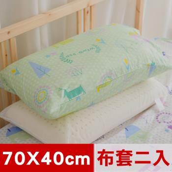 米夢家居-夢想家園系列-100%精梳純棉信封式標準枕通用布套(青春綠)二入