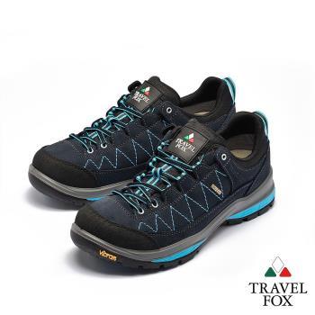 TRAVEL FOX(男) 看山是山 歐洲進口耐冷熱防滑戶外登山鞋 - 黑藍色