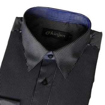 Chinjun防皺襯衫長袖,黑底白線條,編號k-227