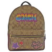COACH 31499 馬車LOGO 街頭塗鴉印花雙肩後背包.駝/紅