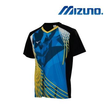 MIZUNO 美津濃 男短袖桌球T恤 黑藍 82TA850391