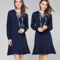 麗質達人 - 79133藍色綁帶洋裝