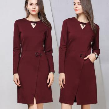 麗質達人 - 79210棗紅色口袋洋裝
