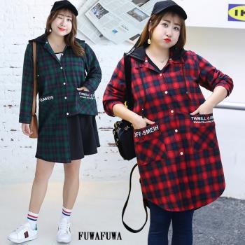 FUWAFUWA-加大尺碼格子連帽長袖襯衫外套
