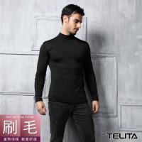 【TELITA】男內衣 保暖衣 刷毛衣 高領長袖衫 黑色(一件)