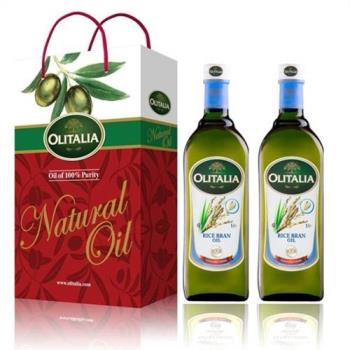 Olitalia奧利塔-玄米油品禮盒1盒;共2瓶(玄米油X2/盒;1000ml/瓶)加贈葵花油X1(1000ML/瓶)