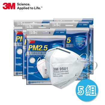 3M PM2.5空污微粒防護口罩系列- 9501.9501V.9041V (五包組)