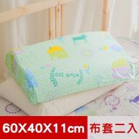 米夢家居-夢想家園-100%精梳純棉工學枕頭套/枕布套-乳膠枕/記憶枕適用(青春綠)二入