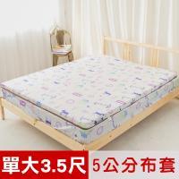 米夢家居-夢想家園-冬夏兩用床墊布套100%精梳純棉+紙纖蓆面-單人加大3.5尺(白日夢)