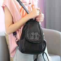 Acorn橡果-韓版貓咪鉚釘胸包後背包6418(黑色)