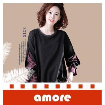 Amore 2018秋冬新款寬鬆長袖顯瘦假兩件韓版上衣