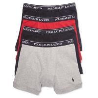 Ralph Lauren 男時尚馬球超軟黑紅灰色四角內著混搭4件組