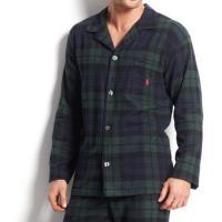 Ralph Lauren 男時尚馬球法蘭絨藍墨綠長袖睡衣
