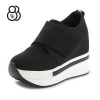 【88%】休閒鞋-運動風顯高長腳布面魔鬼氈穿拖5CM厚底3.5CM內增高鞋