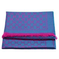 GUCCI 經典GG緹花印花雙色編織純羊毛流蘇圍巾(紫紅X藍綠-180X48cm)