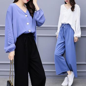 KVOLL-簡約V領寬鬆襯衫闊腿褲套裝XL~5XL(共二色)