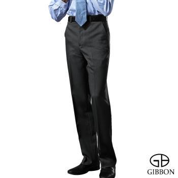 GIBBON 涼爽條紋平口西裝褲‧黑色