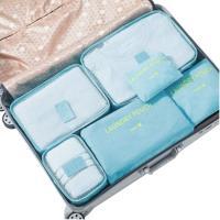 PUSH!旅遊用品旅行收納袋六件套行李箱衣物整理收納包套裝6件套韓國藍S56