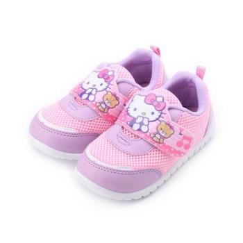 HELLO KITTY 音符寬魔鬼氈休閒運動鞋 紫粉 中小童鞋 鞋全家福