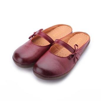 LUZZI 真皮圖騰半包頭拖鞋 紅 女鞋 鞋全家福