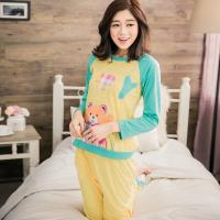 lingling日系 愛心熊撞色二件式睡衣組(全尺碼)